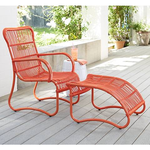 San Remo Orange Metal Outdoor Chair and Ottoman
