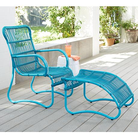San Remo Woven Blue Outdoor Chair with Ottoman