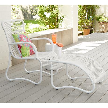 San Remo White Metal Outdoor Chair and Ottoman