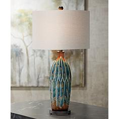 Fargo Azul Blue and Rust Table Lamp