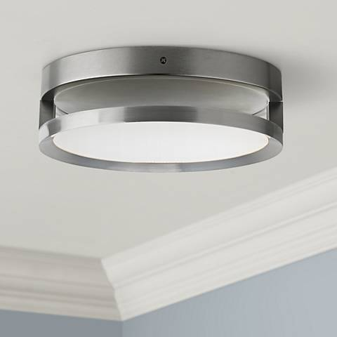 "Finch Float 12"" Round Satin Nickel LED Ceiling Light"