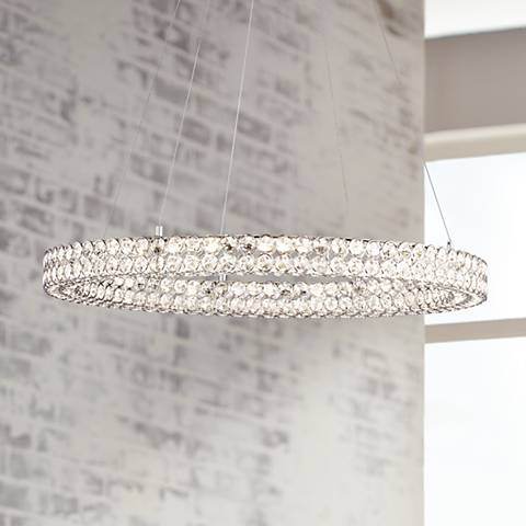 "Possini Euro Perriello 27 1/2"" Wide LED Crystal Ring Pendant"