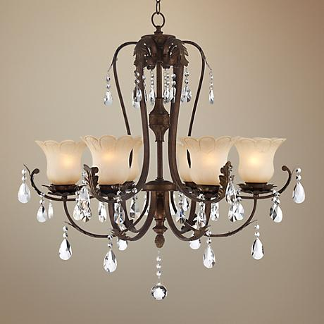 "Briarwood Iron Leaf 34"" Wide Bronze and Crystal Chandelier"