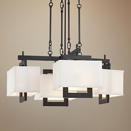 "Castio 24 1/2"" English Brown 4-Light Chandelier"