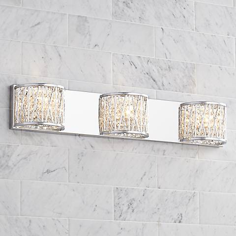 "Possini Euro Woven Laser Cut 28 1/2"" Wide Chrome Bath Light"