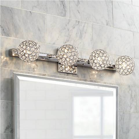 "Tiara Crystal Sphere 28"" Wide 4-Light Chrome Bath Light"