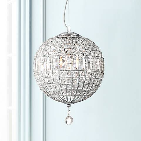 "Possini Euro Casey 13"" Wide Crystal Sphere Pendant"