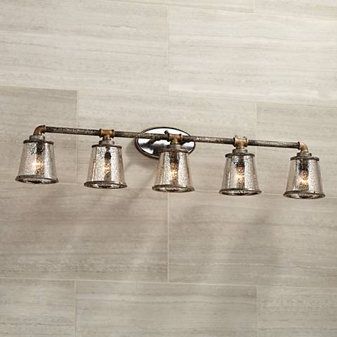 "Fillmore 40 1/4"" Wide Industrial Rust 5-Light Bath Light"