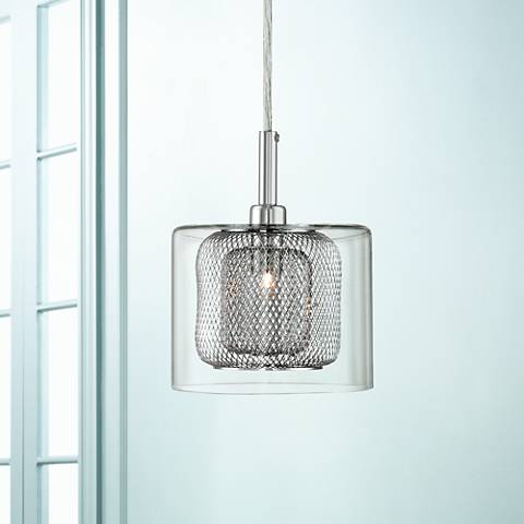 "Possini Euro Zatara 5 1/2"" Wide Chrome Mini Pendant"