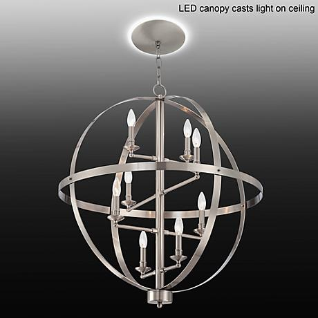 "Portola 29""W Brushed Steel Chandelier with LED Canopy"