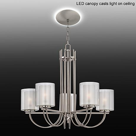"Melody 26 3/4""W Brushed Steel Chandelier with LED Canopy"