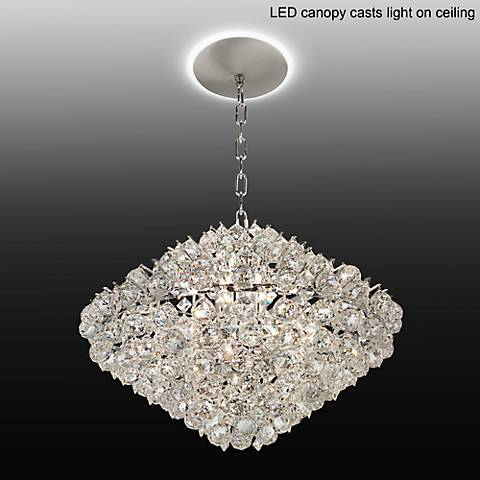 "Essa 24""W Chrome - Crystal Pendant Light with LED Canopy"