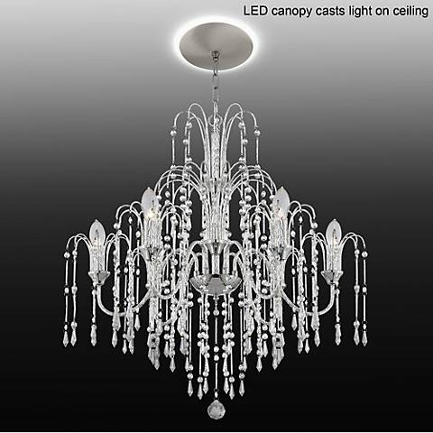 "Crystal Rain 29""W 6-Light Crystal Chandelier with LED Canopy"