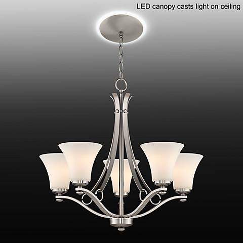 "White Glass 26 1/2""W 5-Light Chandelier with LED Canopy"
