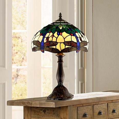 Dragonfly Tiffany Style Accent Table Lamp