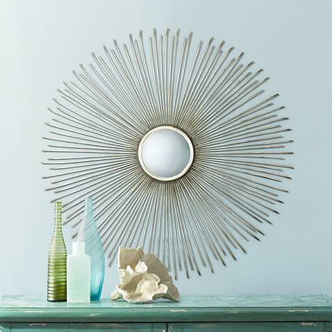 "Launa Plated Silver 31 1/2"" Wide Sunburst Convex Wall Mirror"
