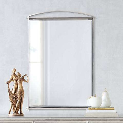 "Quoizel Taylor Antique Nickel 26"" x 36"" Wall Mirror"