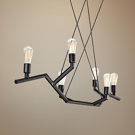 "Tech Lighting Akimbo 36"" Wide Black Island Pendant"
