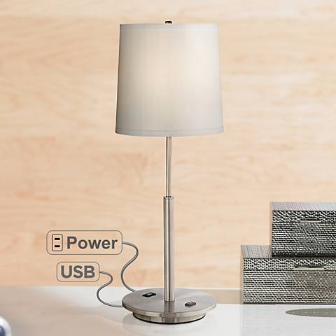 Martel Metal Table Lamp With Usb Port And 2 Prong Outlet