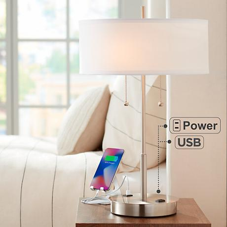 metal table lamp with usb port and utility plug 7j478 lamps plus. Black Bedroom Furniture Sets. Home Design Ideas