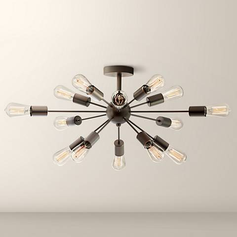 "Possini Euro Hemingson 28"" Wide Edison Bronze Ceiling Light"