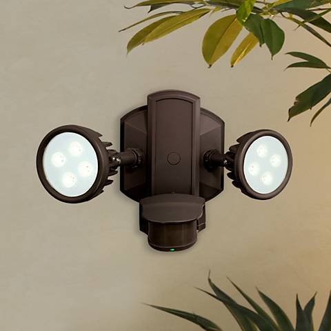 "Lambda 12 1/2""W LED Bronze Motion Sensor Security Floodlight"