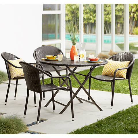 Avalon Cove Outdoor Wicker 5-Piece Cafe Dining Set