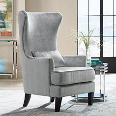Aston Silver Alligator Print Upholstered Wingback Armchair