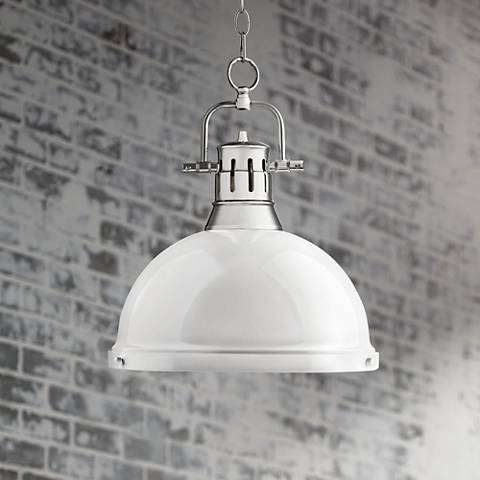"Duncan Chrome 14"" Wide Contemporary White Pendant Light"