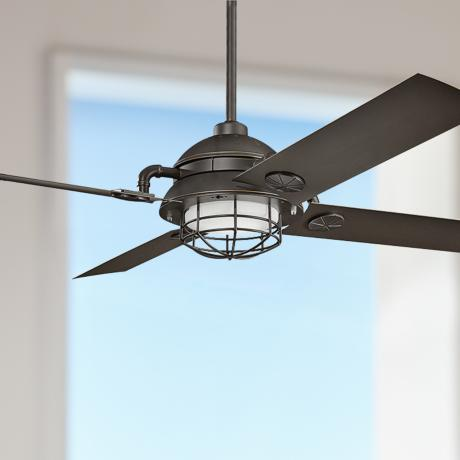 maor led olde bronze cage ceiling fan 7k336. Black Bedroom Furniture Sets. Home Design Ideas