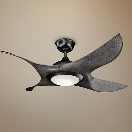 "52"" Kichler Shuriken LED Satin Black Finish Ceiling Fan"