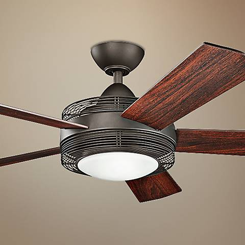 "60"" Kichler Enthrall LED Satin Natural Bronze Ceiling Fan"