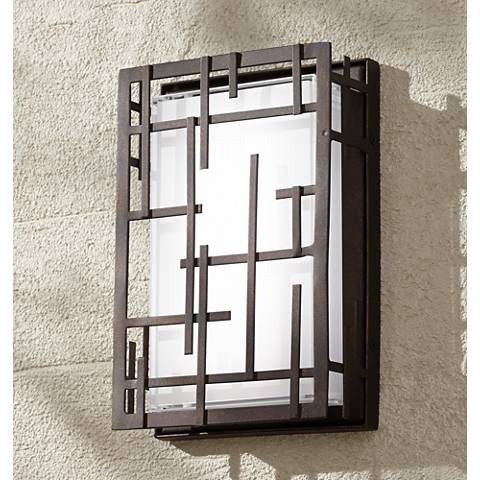 "Modern Lines 9 1/4"" High Bronze LED Outdoor Wall Light"