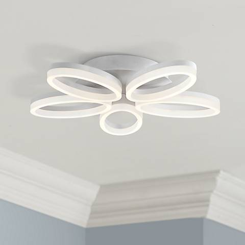 "Possini Euro White Bloom 21 1/2"" Wide LED Ceiling Light"