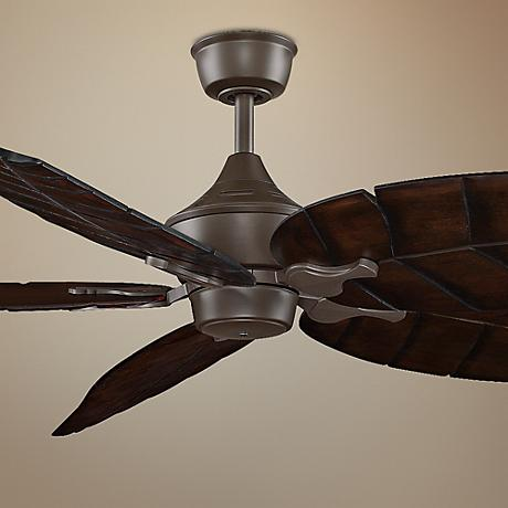 "72"" Oil-Rubbed Bronze Walnut Carved Wood Leaf Ceiling Fan"