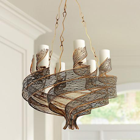 "Varaluz Flow 28 1/2"" Wide Hammered Ore Chandelier"