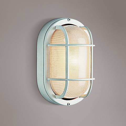 "Bulkhead 8 1/2"" High White Oval Grid Outdoor Wall Light"