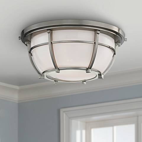 "Hudson Valley Conrad 11 3/4""W Satin Nickel Ceiling Light"
