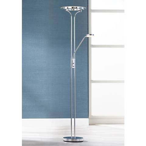 Perseus Chrome LED Torchiere with Gooseneck Reading Arm