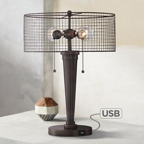 nolan industrial table lamp with usb port 7p800. Black Bedroom Furniture Sets. Home Design Ideas