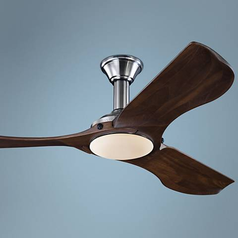 "56"" Minimalist Brushed Steel LED Damp DC Ceiling Fan"