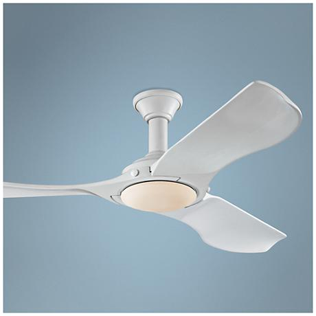 "56"" Minimalist Rubberized White LED Damp DC Ceiling Fan"