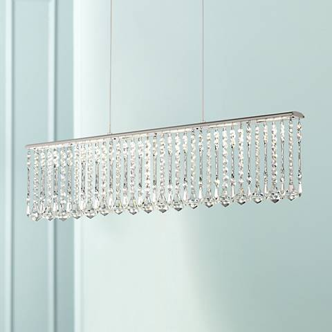 "Keanna Chrome 39 1/2"" Wide LED Crystal Island Chandelier"