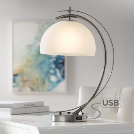Possini Euro Calvin Glass Dome Table Lamp With Usb Port