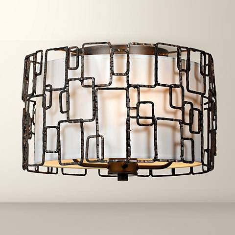 "Crystorama Lattice 15"" Wide Raw Steel Ceiling Light"