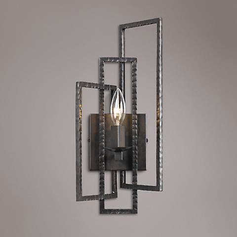 "Crystorama Capri 15 3/4""H Raw Steel 1-Light Wall Sconce"