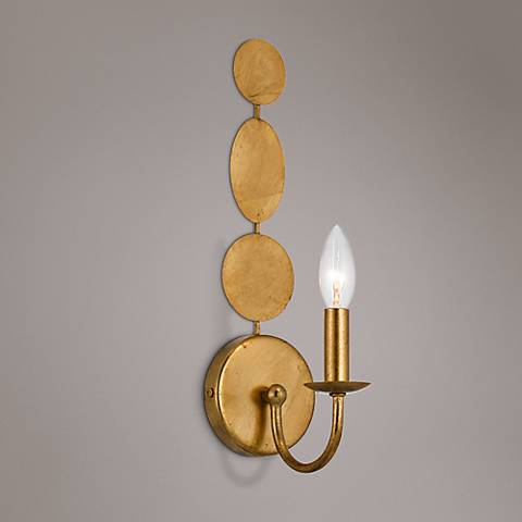 "Crystorama Layla 15 1/2"" High Antique Gold Wall Sconce"