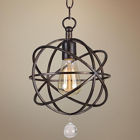 "Crystorama Solaris 9"" Wide Bronze Dual-Mount Ceiling Light"
