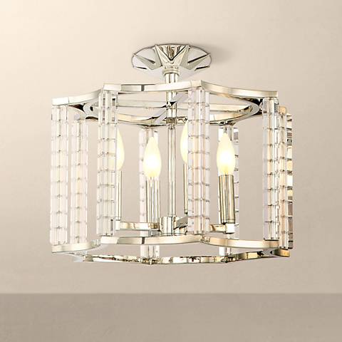 "Crystorama Carson 16"" Wide Polished Nickel Ceiling Light"