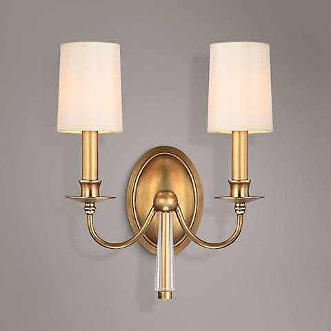 "Crystorama Lawson 13"" Wide Aged Brass Wall Sconce"